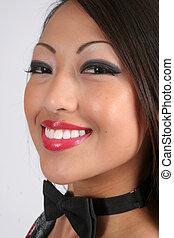 sonriente, asiático, bastante