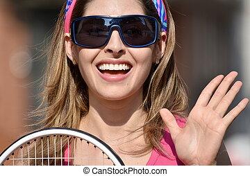 sonriente, atleta, jugador del tenis, niña, colombiano