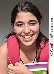 sonriente, bastante, estudiante femenino