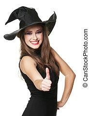 sonriente, bruja, joven