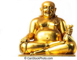 sonriente, buddha, chino, dios, de, felicidad, riqueza, y,...