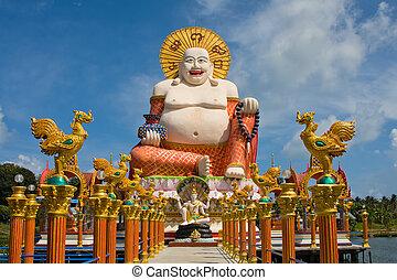 sonriente, buddha, de, riqueza, estatua, en, koh samui, tailandia