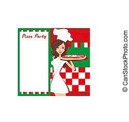 sonriente, camarera, porción, pizza, lugar, para, su, texto