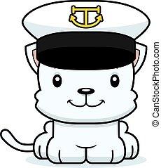 sonriente, capitán, caricatura, barco, gatito