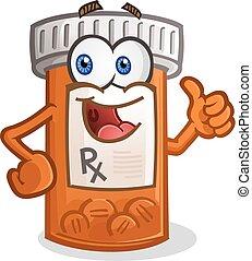 sonriente, carácter, botella de la píldora, caricatura