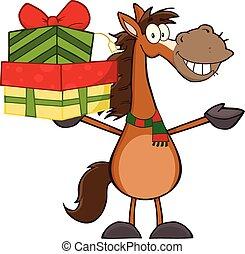 sonriente, carácter, caballo, caricatura