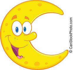 sonriente, carácter, caricatura, luna