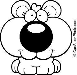 sonriente, caricatura, cachorro de oso