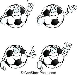 sonriente, caricatura, fútbol, conjunto