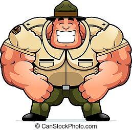 sonriente, caricatura, taladro, sargento