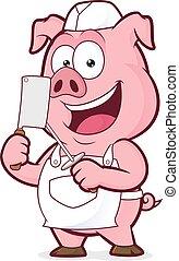 sonriente, carnicero, cerdo
