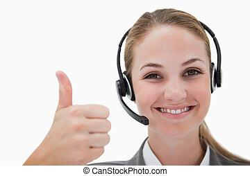 sonriente, centro de la llamada, agente, dar, pulgar up