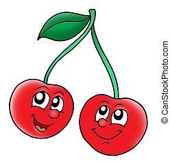 sonriente, cerezas, rojo