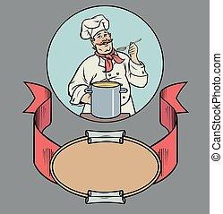 sonriente, chef, con, sopa