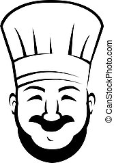 sonriente, chef, con, un, barba, y, bigote