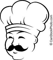 sonriente, chef, con, un, curling, negro, bigote