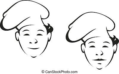 sonriente, chef joven, en, un, toque