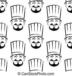 sonriente, chefs, seamless, pauta fondo