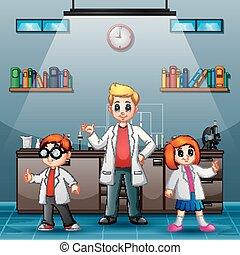 sonriente, científico, tres, laboratorio, joven
