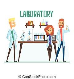 sonriente, científicos, hombre y mujer, trabajando, en, un, laboratorio, interior, de, ciencia, laboratorio