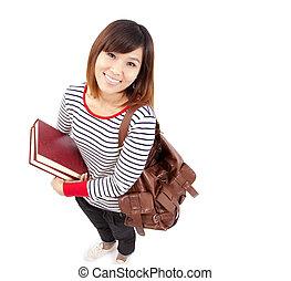 sonriente, colegio, joven, estudiante, asiático