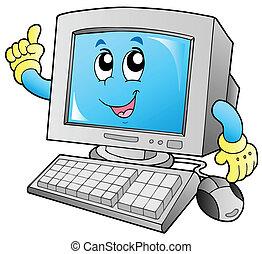 sonriente, computadora, caricatura, escritorio