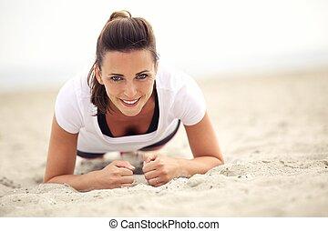 sonriente, condición física, mujer