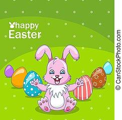 sonriente, conejo, caricatura, niña, con, huevos, hermoso, conejito, pascua, plano de fondo