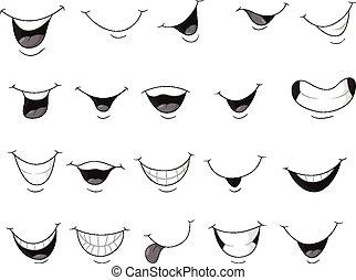 sonriente, conjunto, boca, caricatura