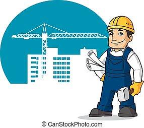 sonriente, constructor, con, hummer, y, planes