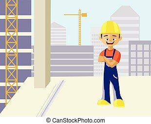 sonriente, constructor, hombre
