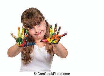 sonriente, cuidado día, niño preescolar, pintura, con, ella, manos