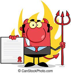 sonriente, diablo, delante de, llamas