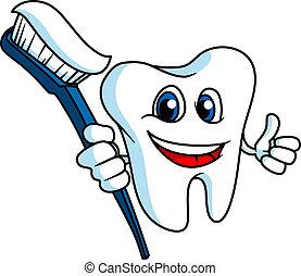 sonriente, diente, con, tooth-brush