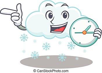 sonriente, diseño, nube, mascota, reloj, nevoso, concepto