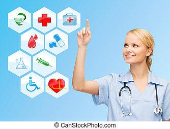 sonriente, doctor, encima, iconos médicos, fondo azul
