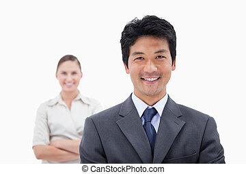 sonriente, empresarios, posar