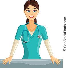 sonriente, enfermera
