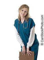 sonriente, enfermera, tenencia, gráfico paciente