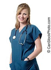 sonriente, enfermera, wearin