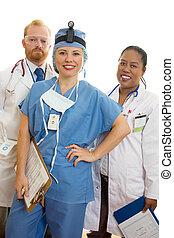sonriente, equipo médico