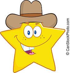 sonriente, estrella, con, sombrero vaquero