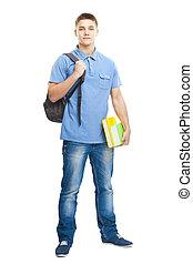 sonriente, estudiante libros, y, mochila