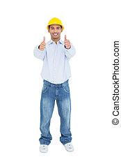 sonriente, factótum, en, sombrero duro amarillo, el gesticular, pulgares arriba