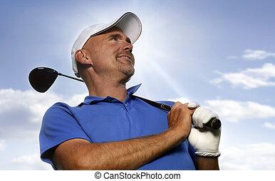 sonriente, golfista