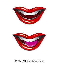 sonriente, gráfico, bocas