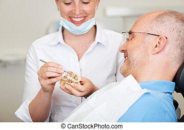 sonriente, hembra, dentista, explicar, dientes artificiales