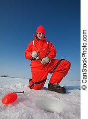 sonriente, hielo, pescador