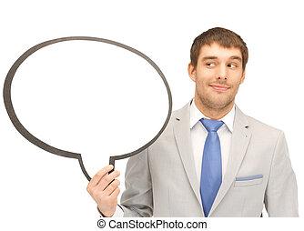 sonriente, hombre de negocios, con, blanco, texto, burbuja
