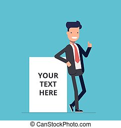 sonriente, hombre de negocios, estantes, cerca, la red, publicidad, cartel, dónde, usted, lata, lugar, su, text., un, hombre, en, un, juicio negocio, al lado de, un, blanco, cartel, o, banner., feliz, man., un, empleado, en, el, oficina.